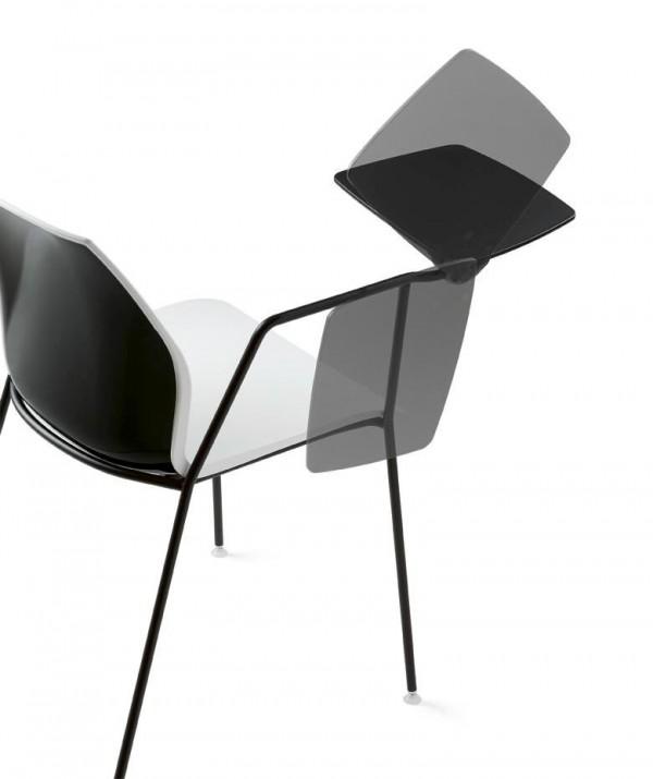 Kastel stuhl kalea einfarbig mit schreibtablar b ro for 1001 stuhl design