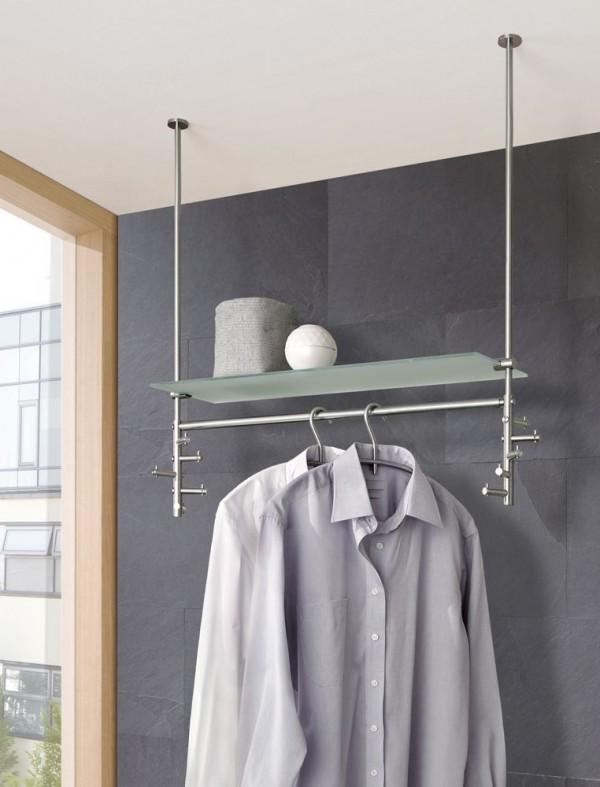 phos edelstahl h ngegarderobe take 3 d mit glasablage garderobensysteme garderoben bei 1001stuhl. Black Bedroom Furniture Sets. Home Design Ideas