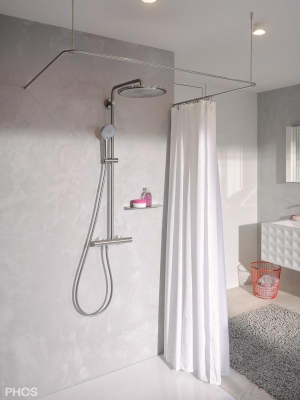 phos edelstahl duschvorhangstange u form dsu1000 100 radius 14mm duschvorhangstangen wohn. Black Bedroom Furniture Sets. Home Design Ideas
