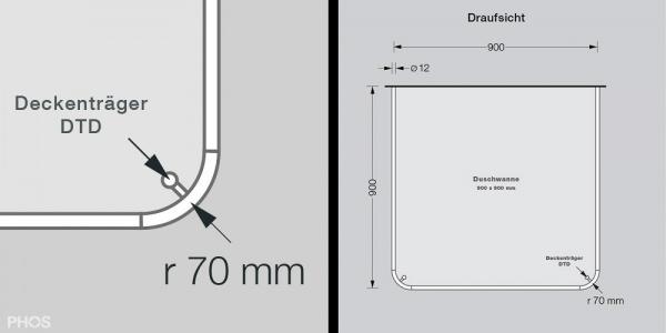 Phos Edelstahl Duschvorhangstange U-Form DSU900-900 Radius 70 mm ...