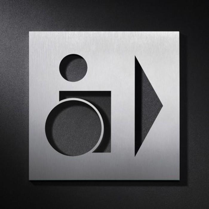phos edelstahlschild wegweiser wc behinderten rechts piktogramme wohn und designobjekte. Black Bedroom Furniture Sets. Home Design Ideas
